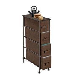 """Narrow Dresser, Vertical Storage Unit With 4 Fabric Drawers, Metal Frame, Slim Storage Tower, 7.9"""" Width, For Living Thumbnail"""