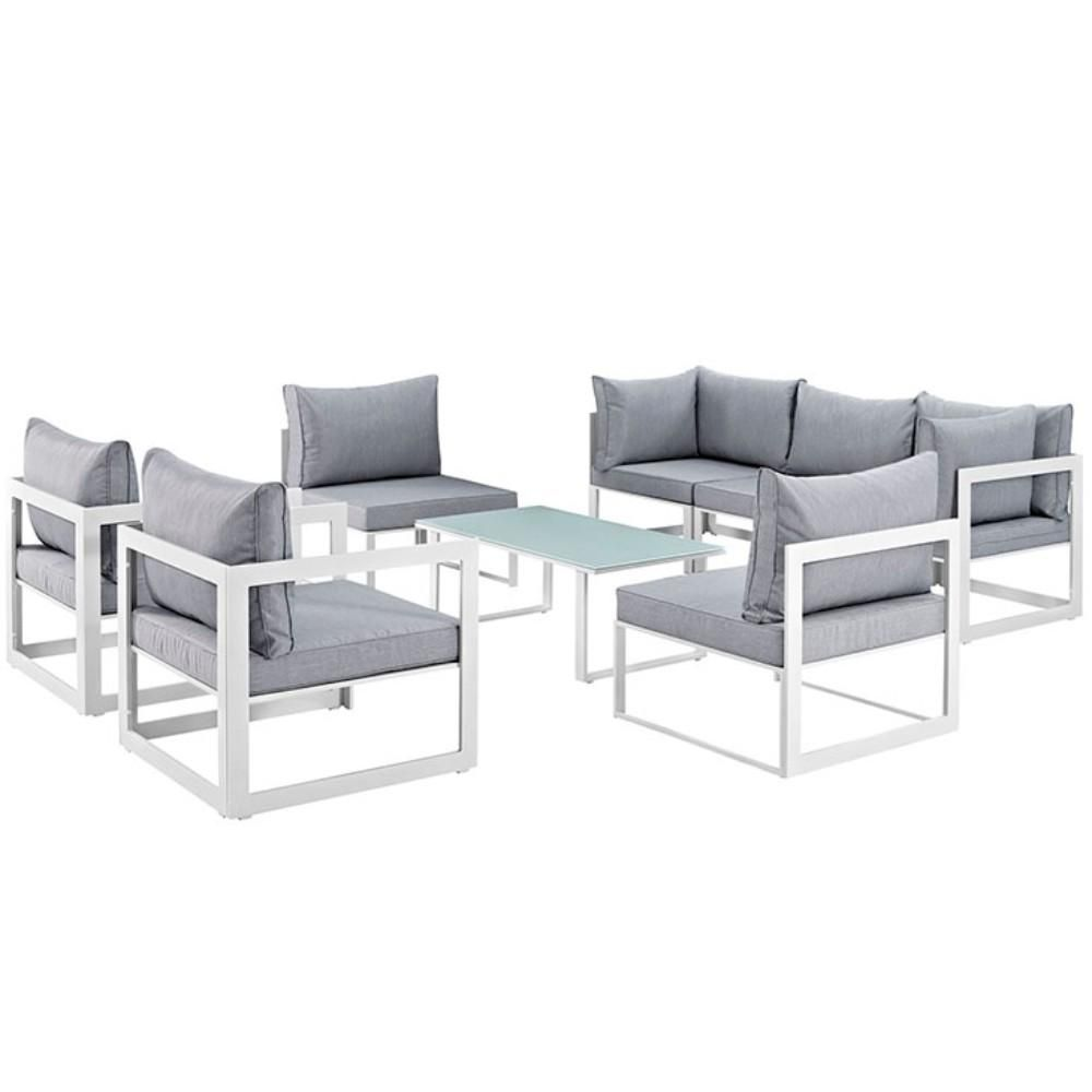 """Fortuna 8 Piece Outdoor Patio Sectional Sofa Set, White Gray Size : 118""""Lx91""""Wx32.5""""H"""