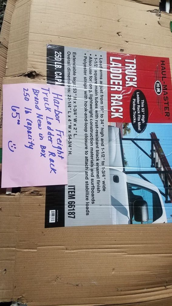 Harbor freight truck ladder rack Brand new in box. 250 lb capacity
