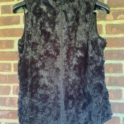 Laura Scott M Faux Fur Black Vest Zipper Thumbnail
